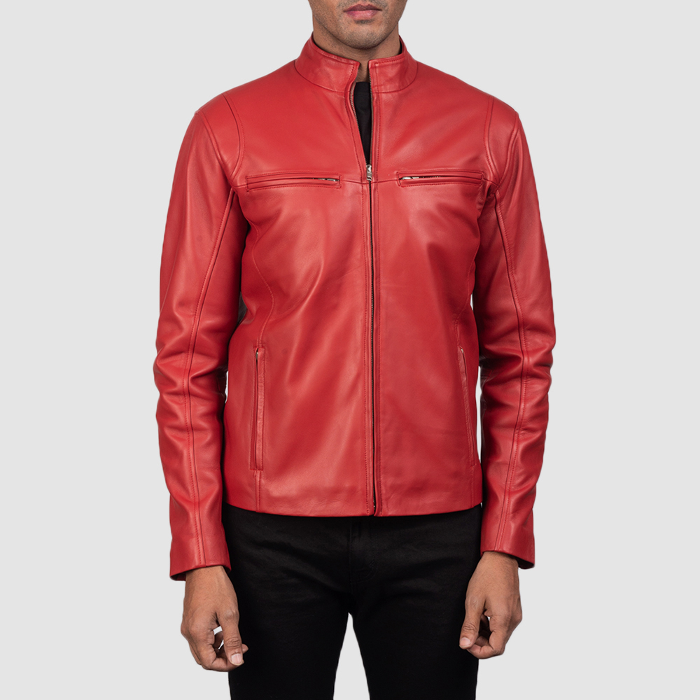 Mens Ionic Red Leather Biker Jacket 4