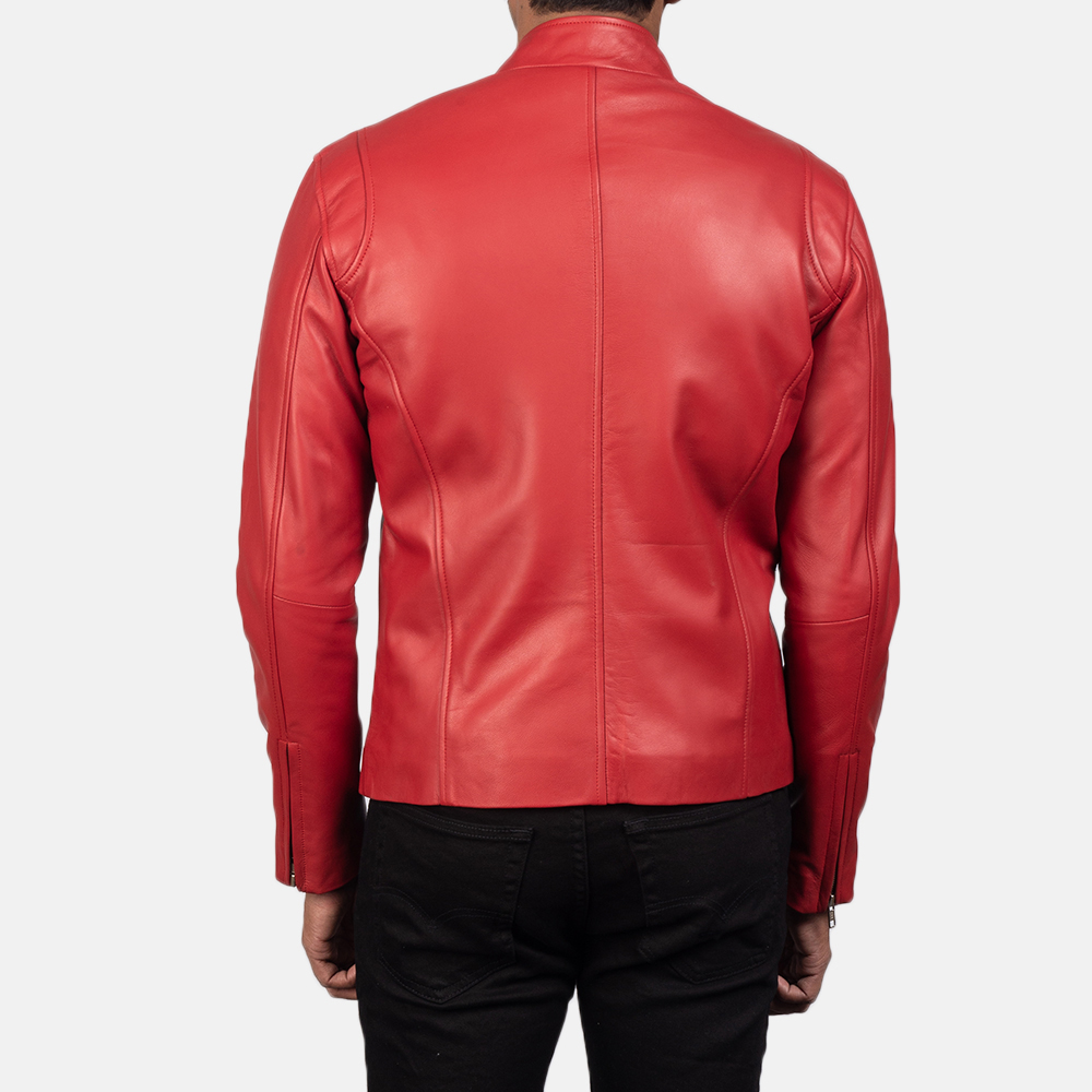 Mens Ionic Red Leather Biker Jacket 3
