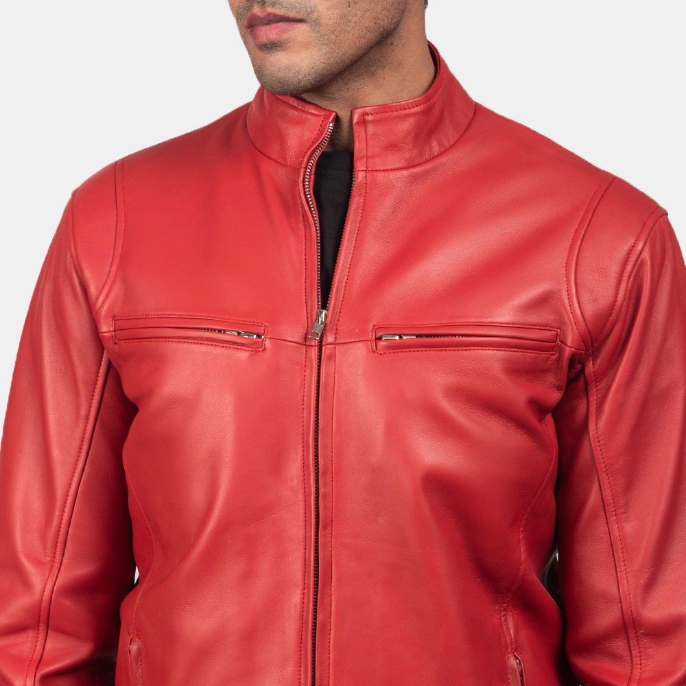 Mens Ionic Red Leather Biker Jacket 7