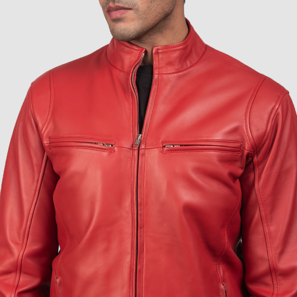 Mens Ionic Red Leather Biker Jacket 6