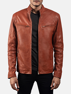 Mens Ionic Tan Brown Leather Biker Jacket