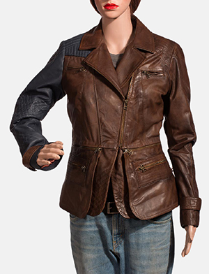 Womens Hydridella Leather Jacket 1