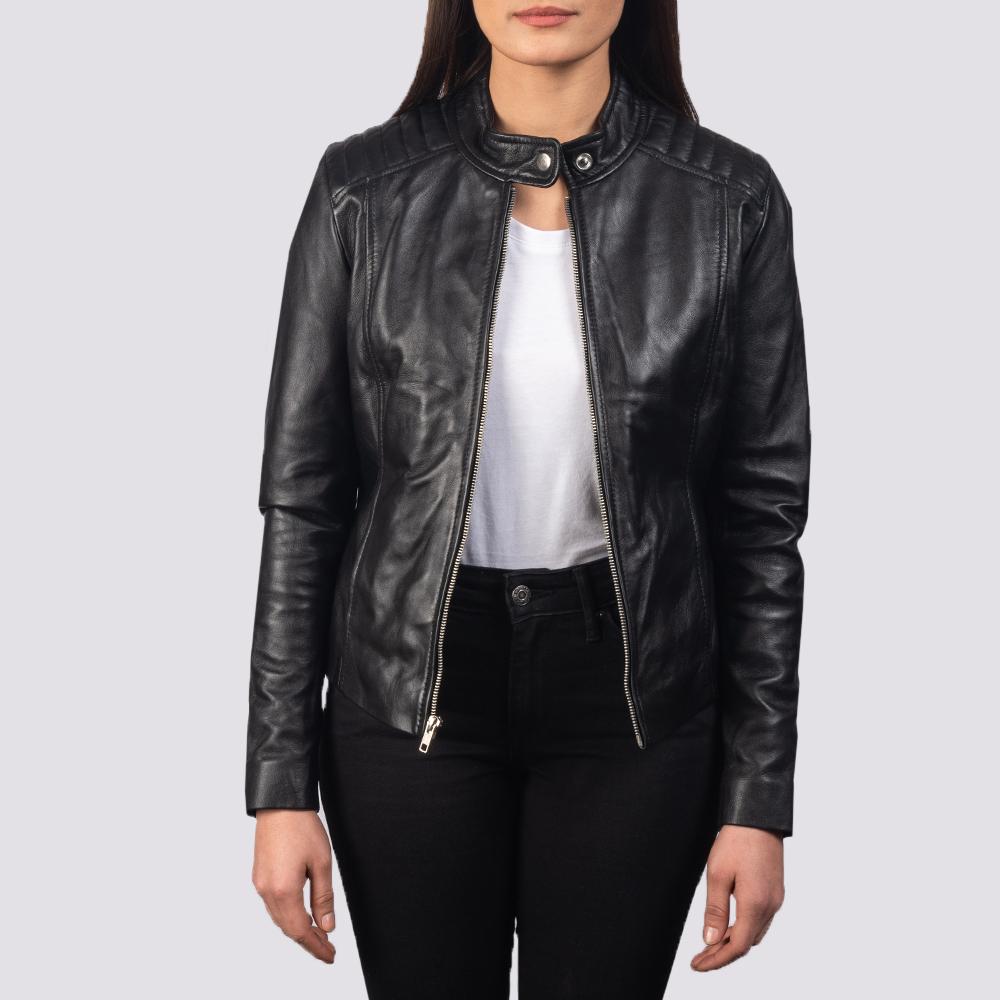 Women's Kelsee Black Leather Biker Jacket 3