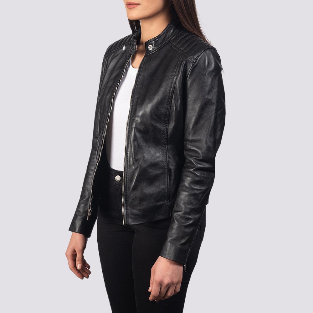 Women's Kelsee Black Leather Biker Jacket 2