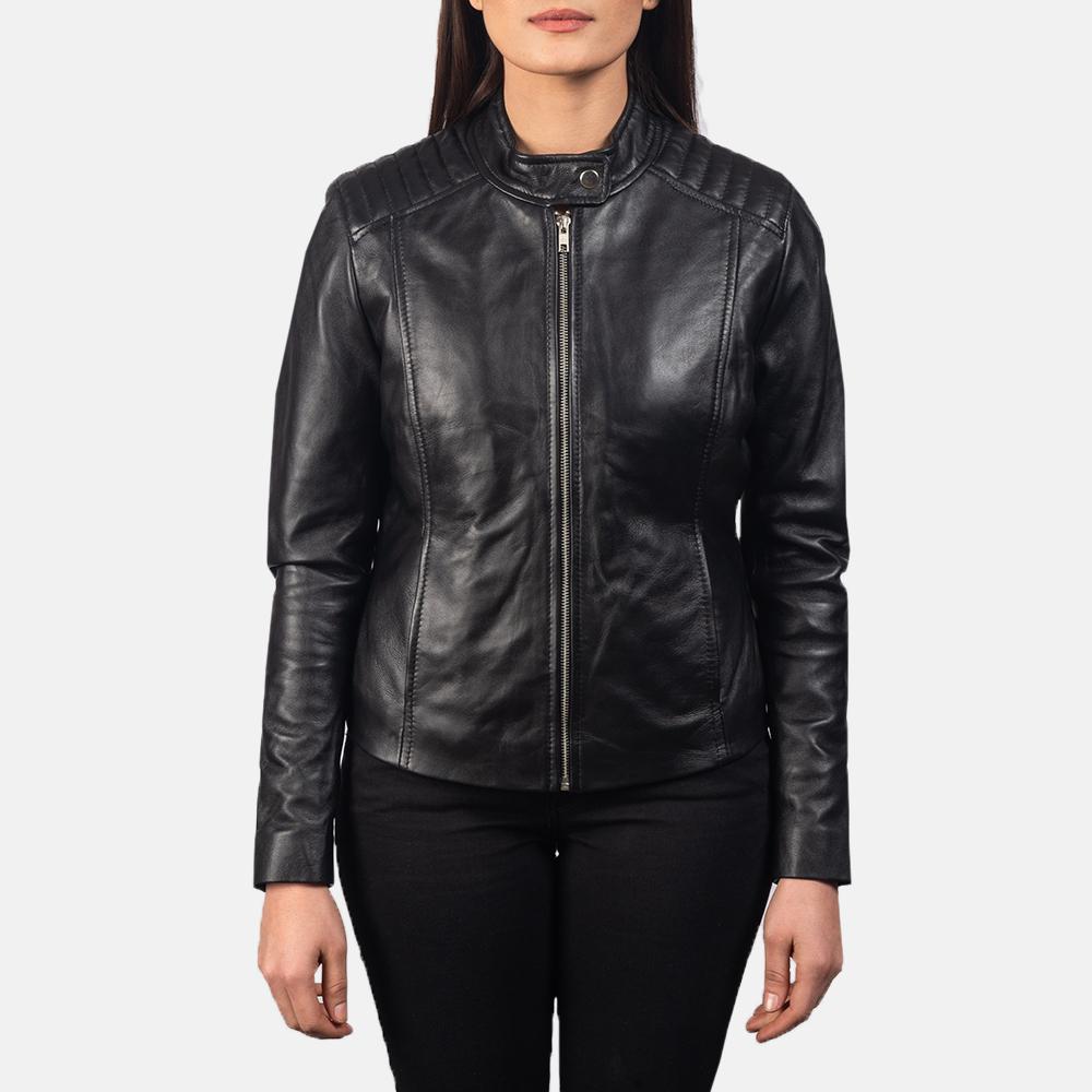 Women's Kelsee Black Leather Biker Jacket 4