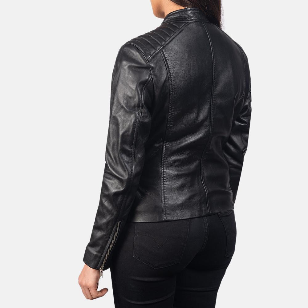Women's Kelsee Black Leather Biker Jacket 5