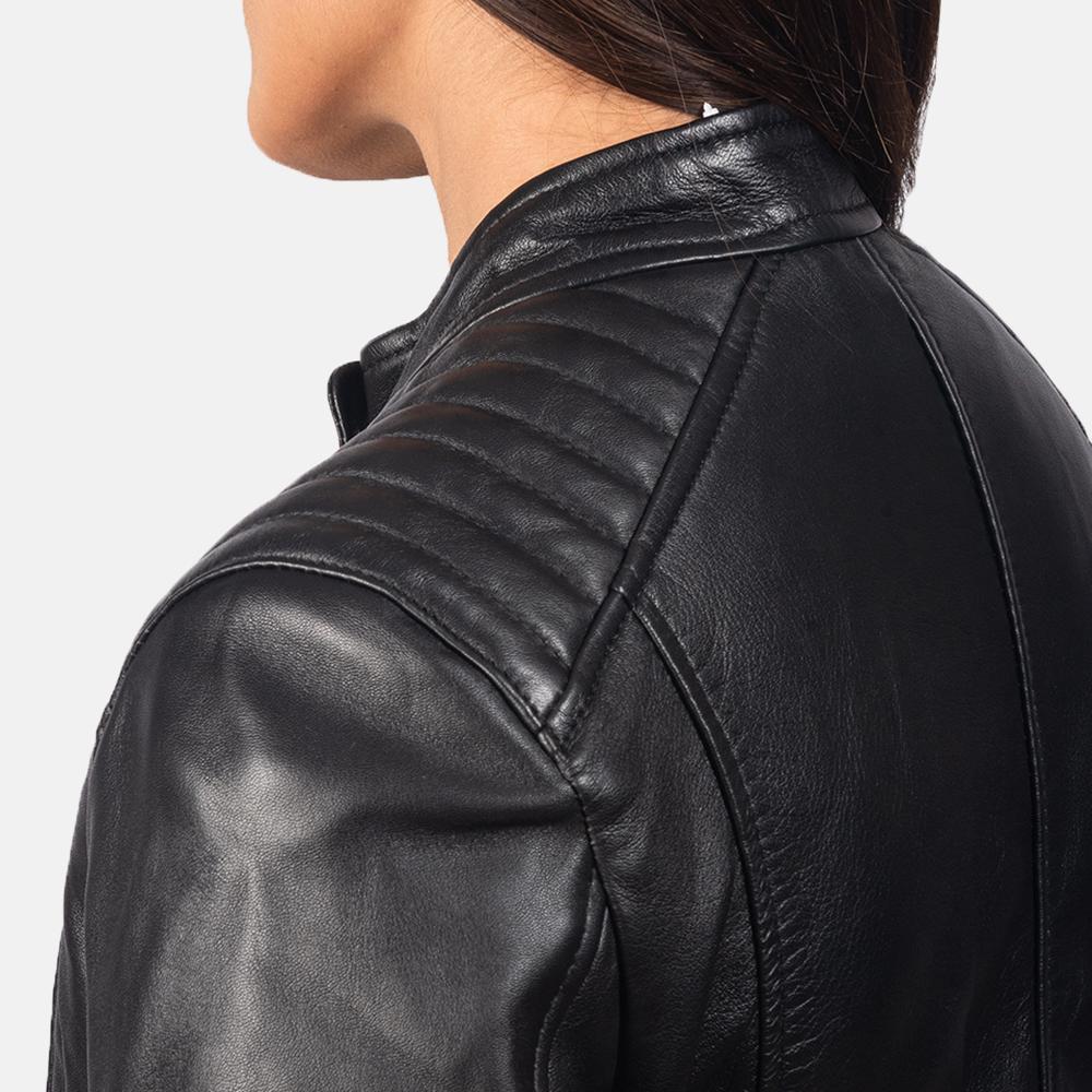 Women's Kelsee Black Leather Biker Jacket 6