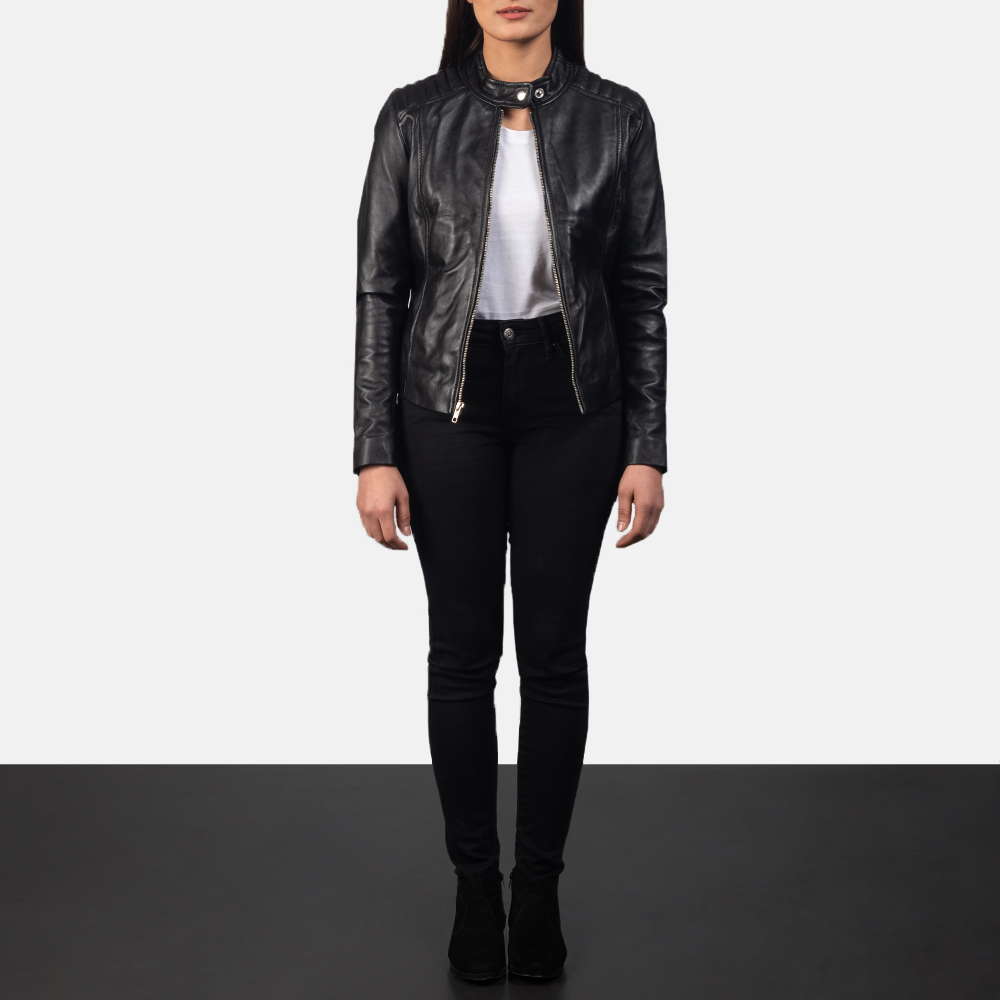 Women's Kelsee Black Leather Biker Jacket 1