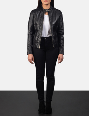 Kelsee Black Leather Biker Jacket