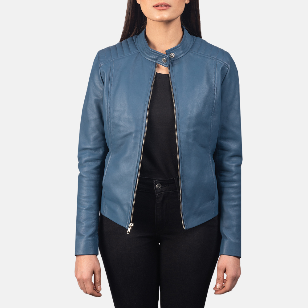 Women's Kelsee Blue Leather Biker Jacket 3
