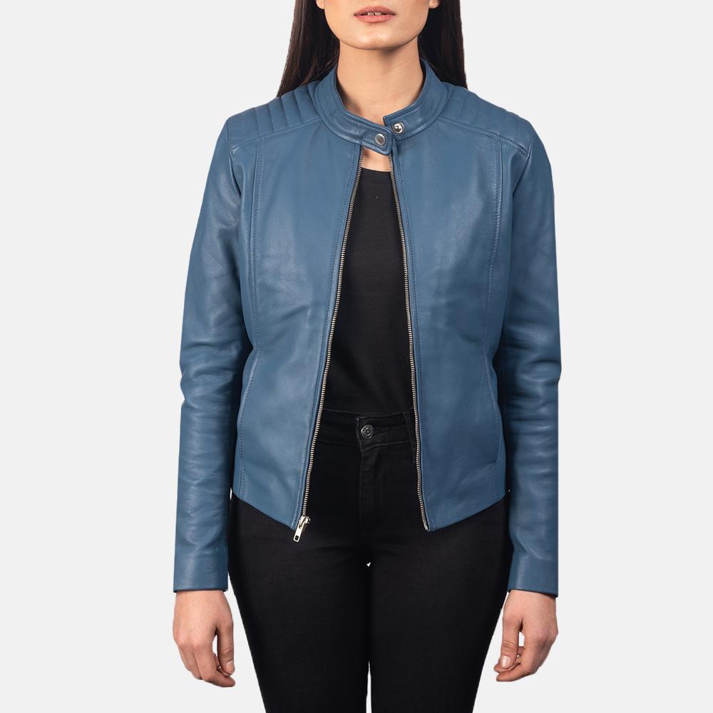Women's Kelsee Blue Leather Biker Jacket 3