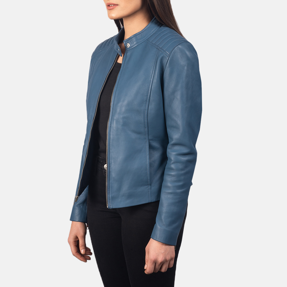 Women's Kelsee Blue Leather Biker Jacket 2