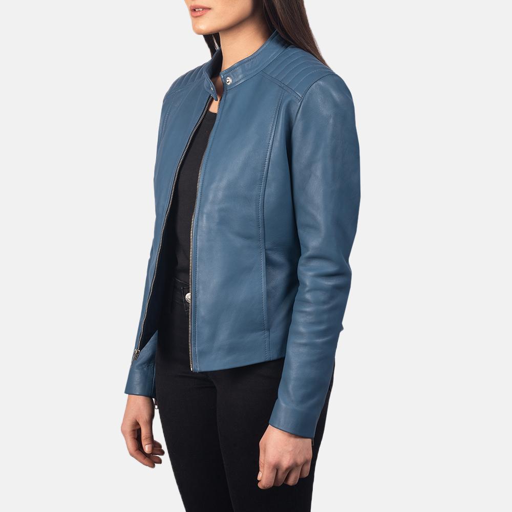 Women's Kelsee Blue Leather Biker Jacket 2