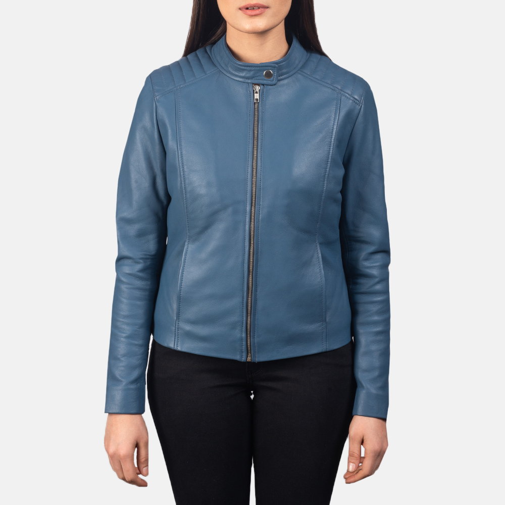 Women's Kelsee Blue Leather Biker Jacket 4