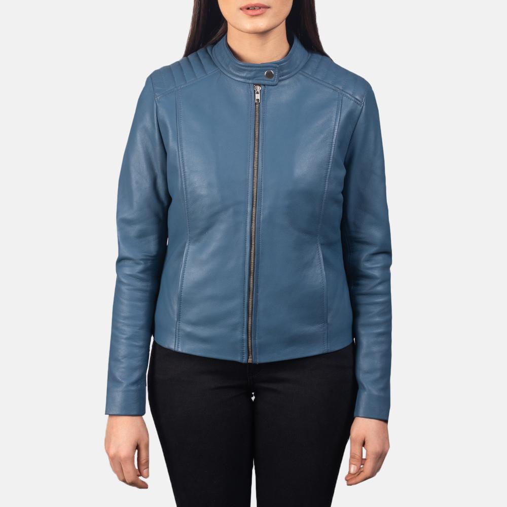Women's Kelsee Blue Leather Biker Jacket 4