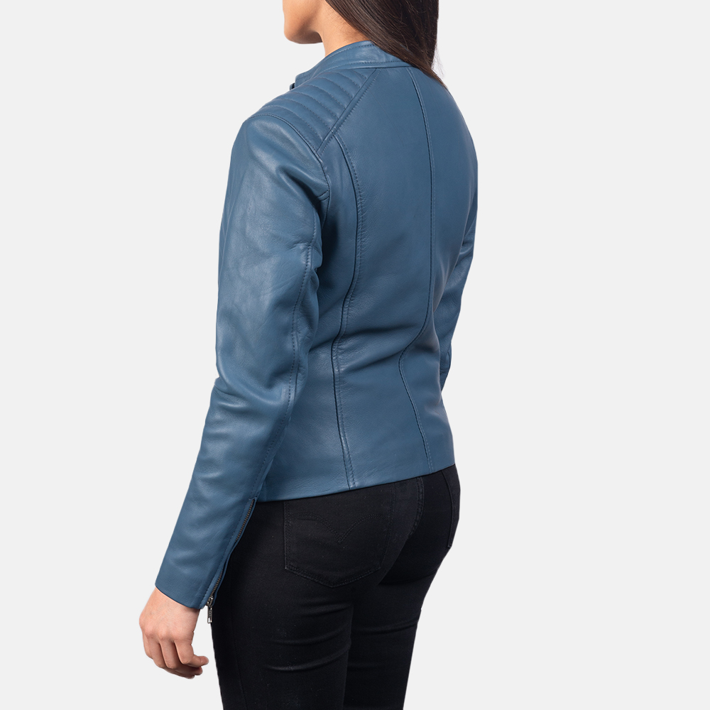 Women's Kelsee Blue Leather Biker Jacket 5