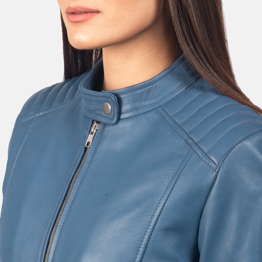 Women's Kelsee Blue Leather Biker Jacket 6