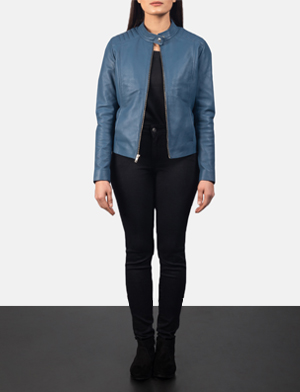 Women's Kelsee Blue Leather Biker Jacket