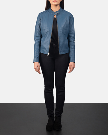 Women's Kelsee Blue Leather Biker Jacket 1