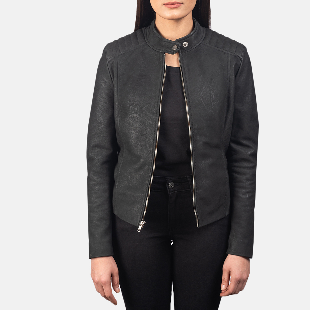 Women's Kelsee Distressed Black Leather Biker Jacket 3