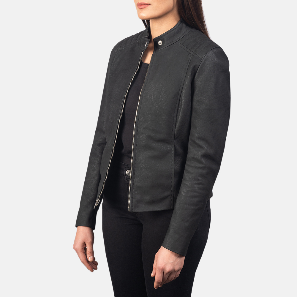 Women's Kelsee Distressed Black Leather Biker Jacket 2