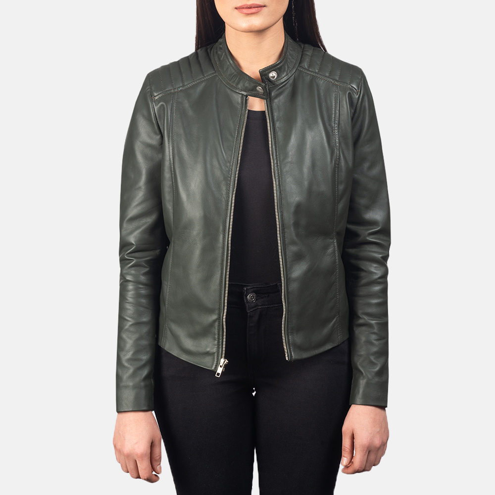 Women's Kelsee Green Leather Biker Jacket 3
