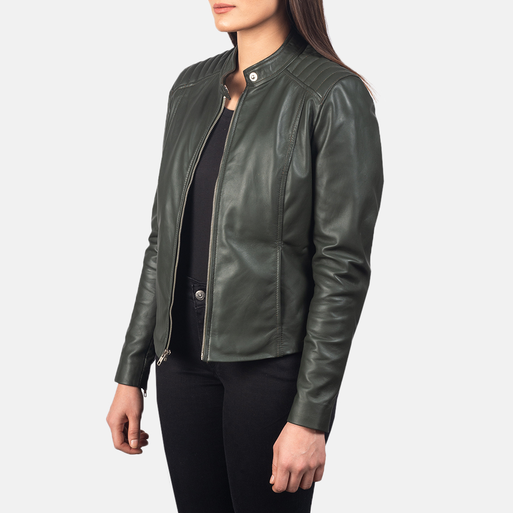 Women's Kelsee Green Leather Biker Jacket 2