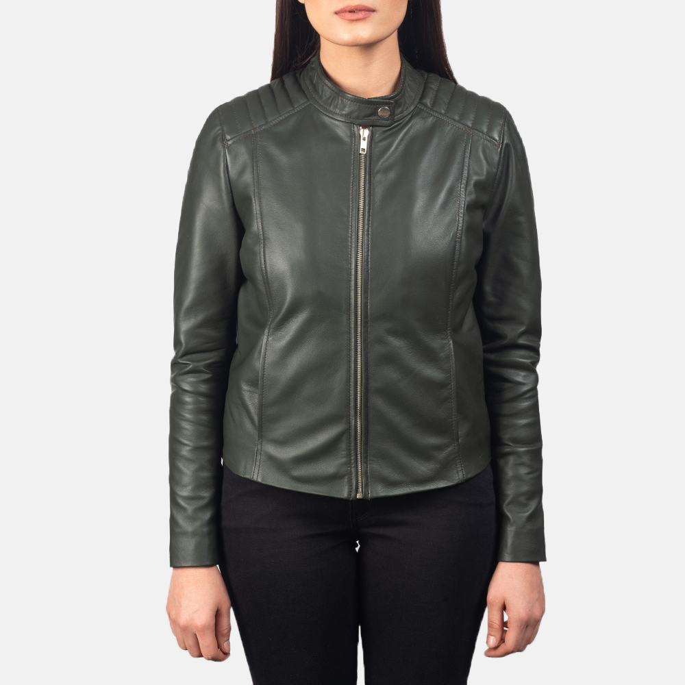 Women's Kelsee Green Leather Biker Jacket 4