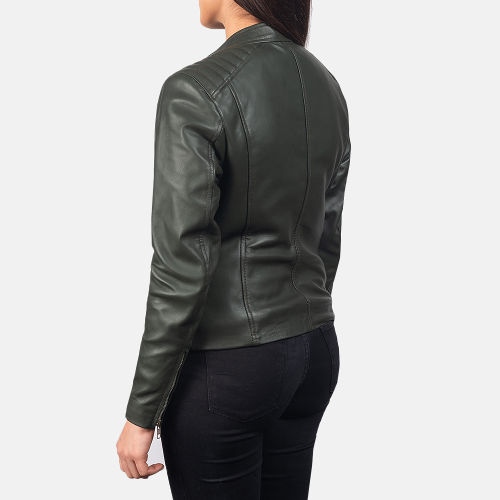 Women's Kelsee Green Leather Biker Jacket 5