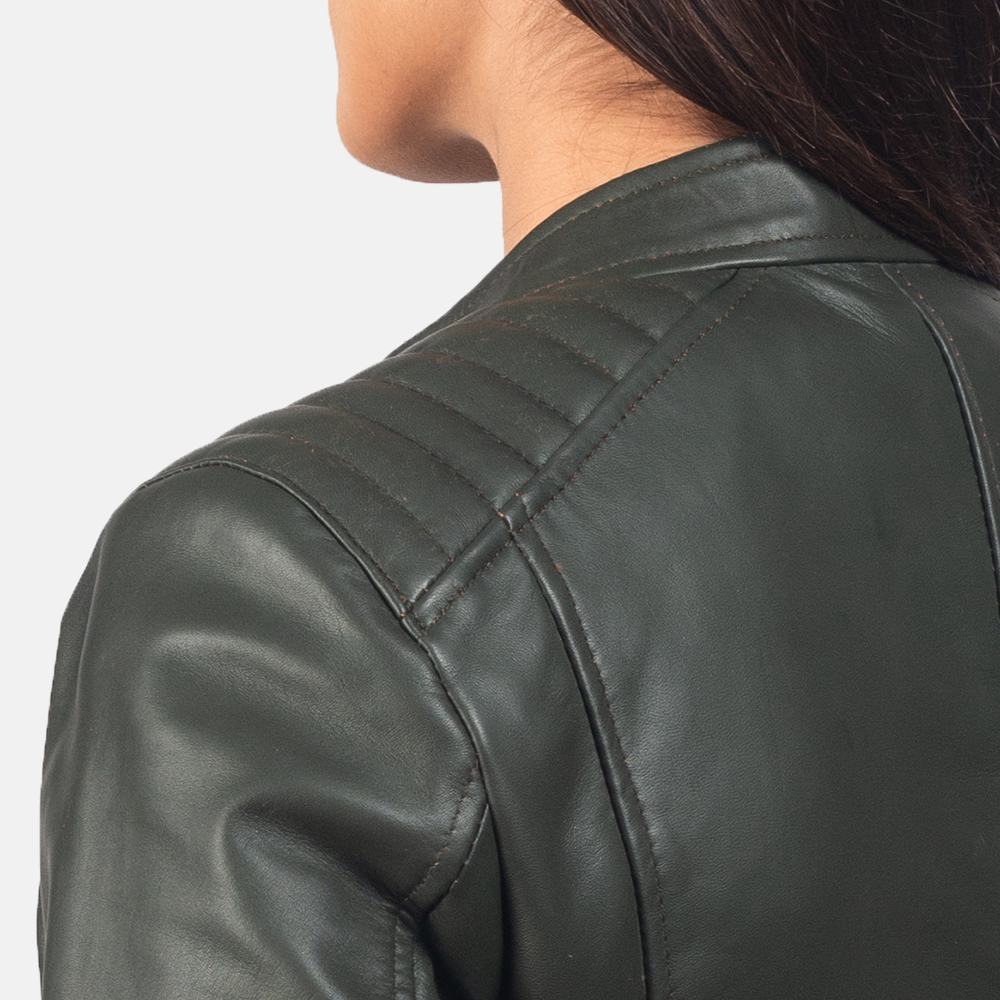 Women's Kelsee Green Leather Biker Jacket 6