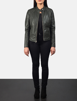 Women's Kelsee Green Leather Biker Jacket