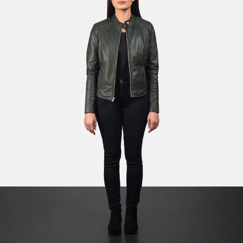 Women's Kelsee Green Leather Biker Jacket 1