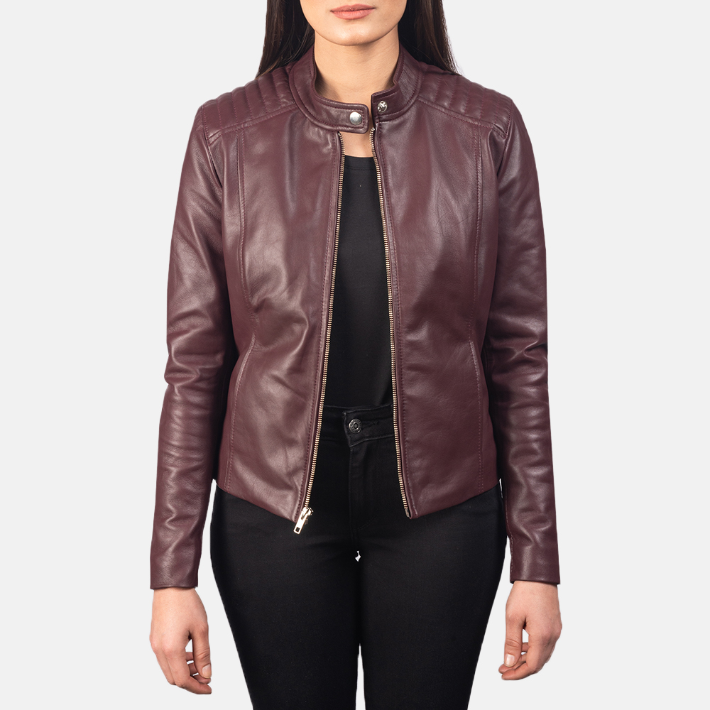 Women's Kelsee Maroon Leather Biker Jacket 3