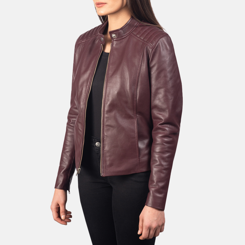 Women's Kelsee Maroon Leather Biker Jacket 2