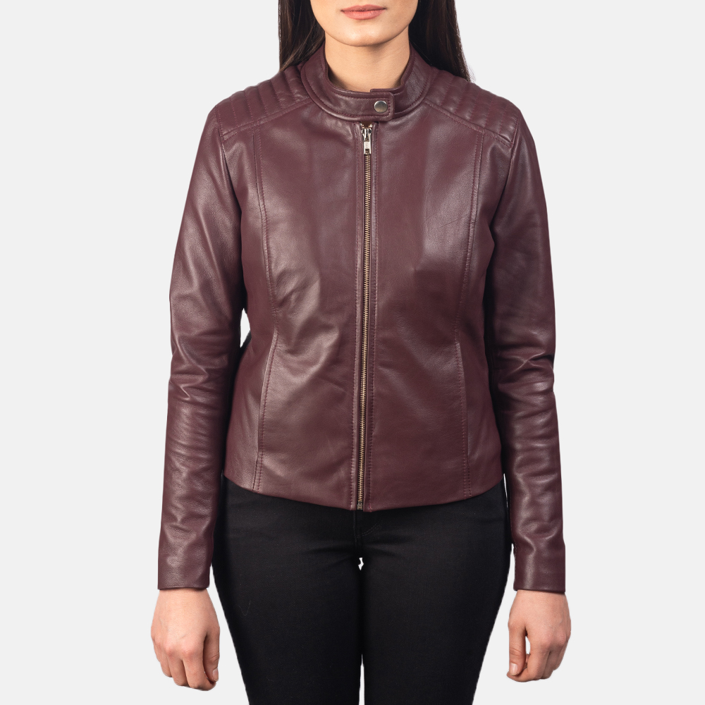 Women's Kelsee Maroon Leather Biker Jacket 4