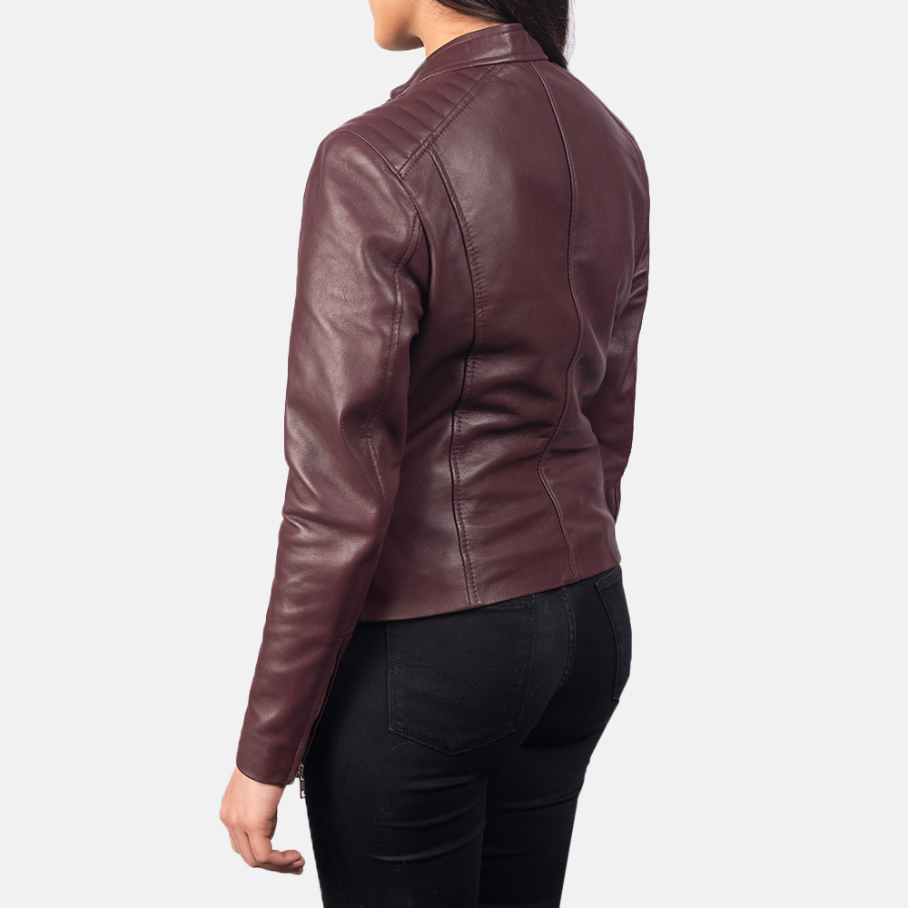 Women's Kelsee Maroon Leather Biker Jacket 5