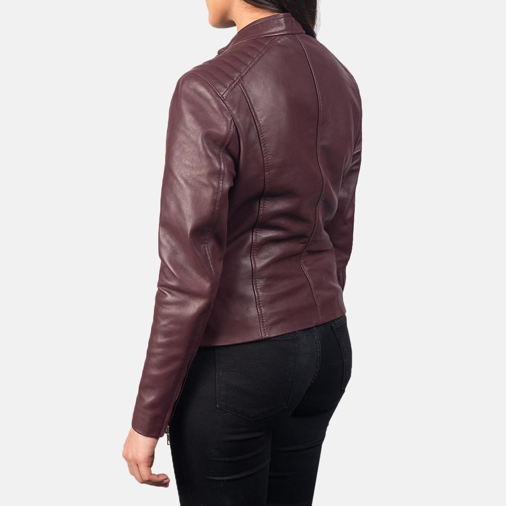 Women's Kelsee Maroon Leather Biker Jacket 5