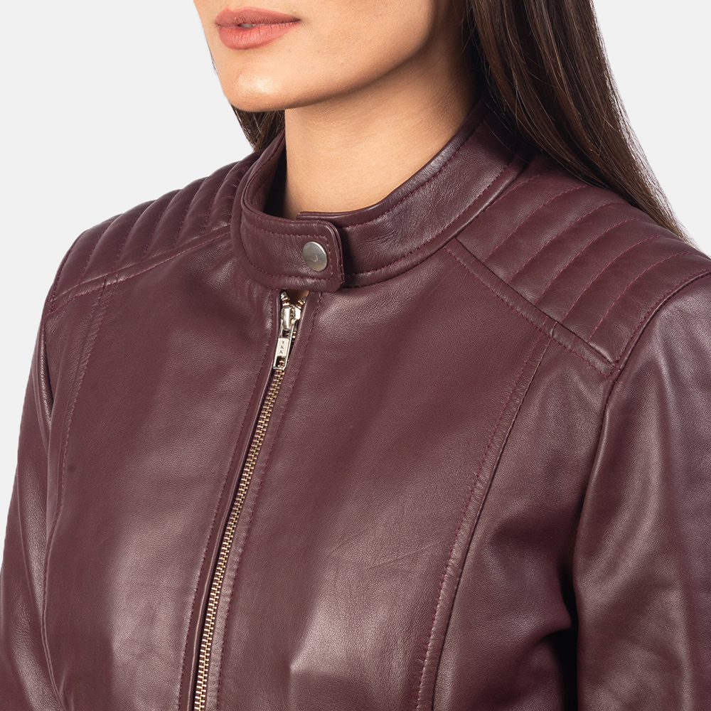 Women's Kelsee Maroon Leather Biker Jacket 6