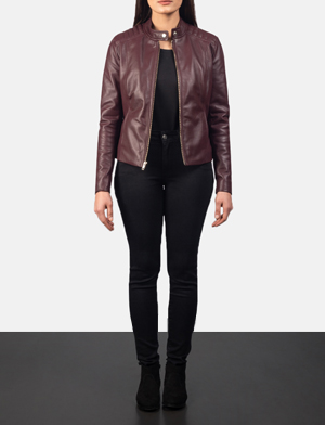 Women's Kelsee Maroon Leather Biker Jacket