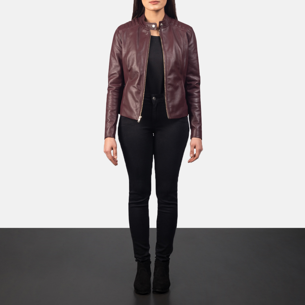 Women's Kelsee Maroon Leather Biker Jacket 1