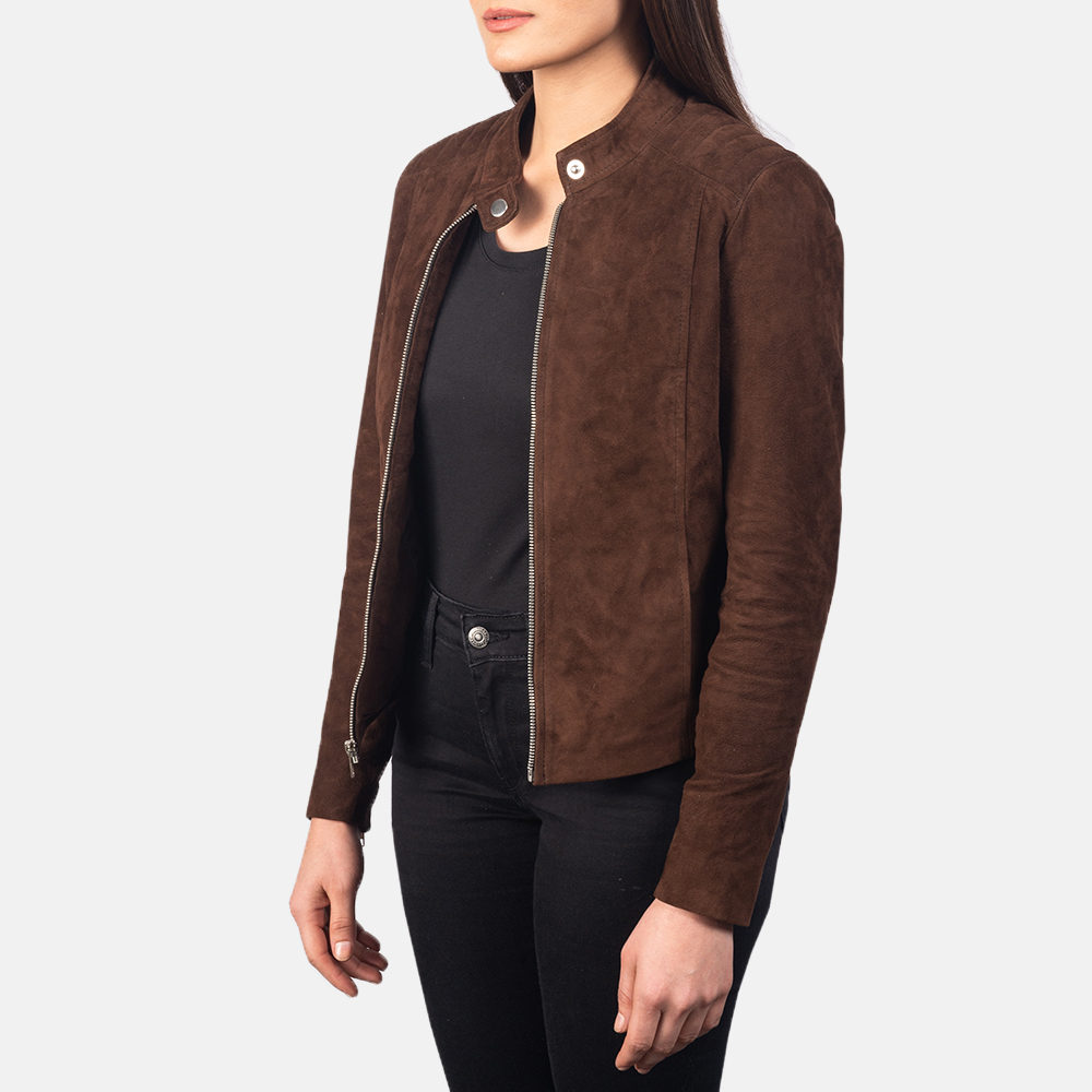 Women's Kelsee Mocha Brown Suede Biker Jacket 2