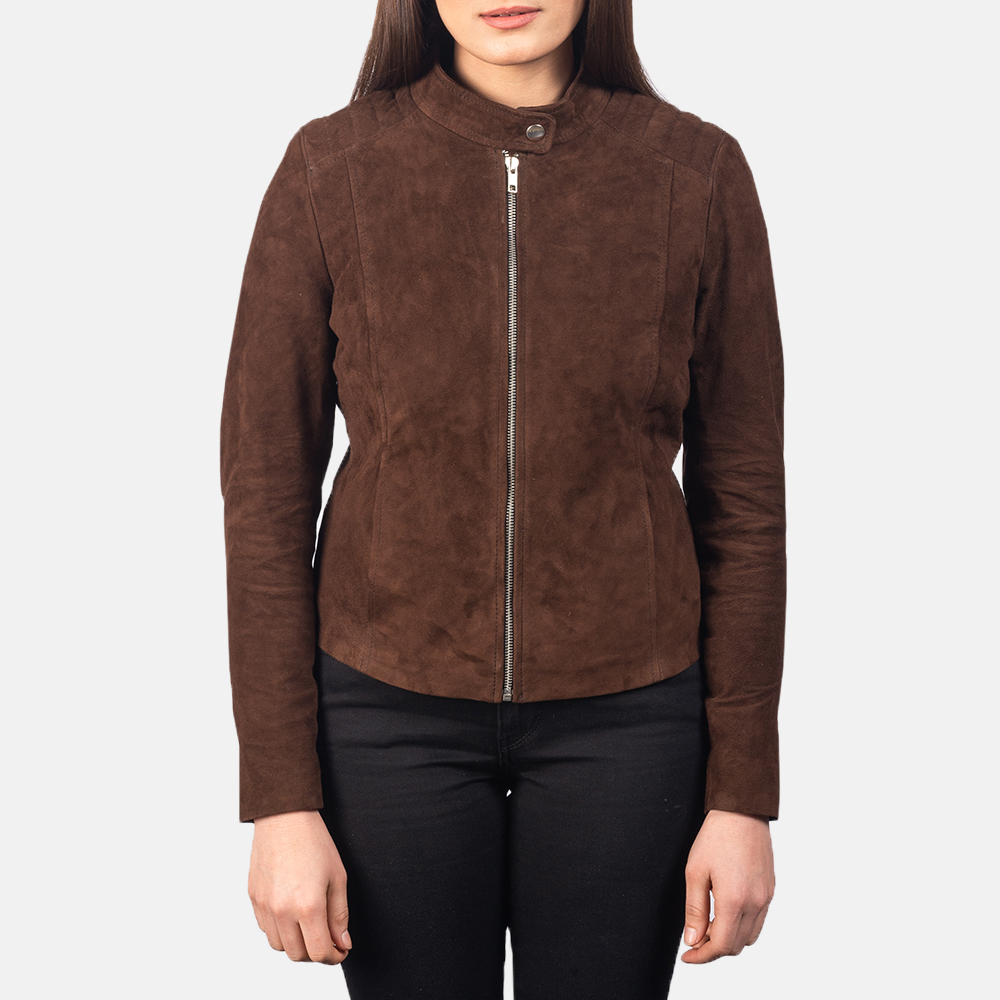 Women's Kelsee Mocha Brown Suede Biker Jacket 4