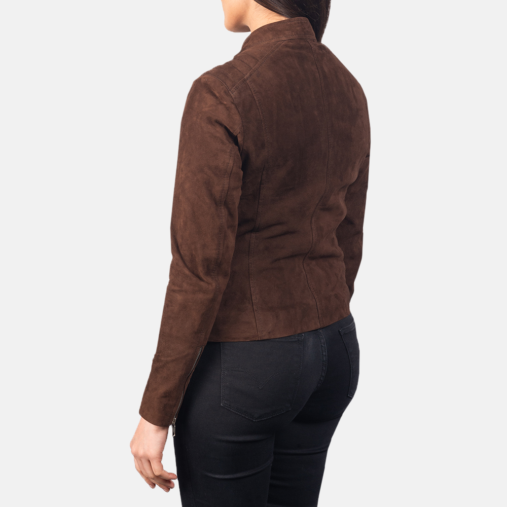 Women's Kelsee Mocha Brown Suede Biker Jacket 5