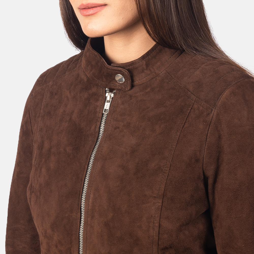 Women's Kelsee Mocha Brown Suede Biker Jacket 6