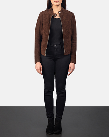 Women's Kelsee Mocha Brown Suede Biker Jacket 1