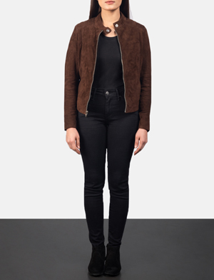 Women's Kelsee Mocha Brown Suede Biker Jacket
