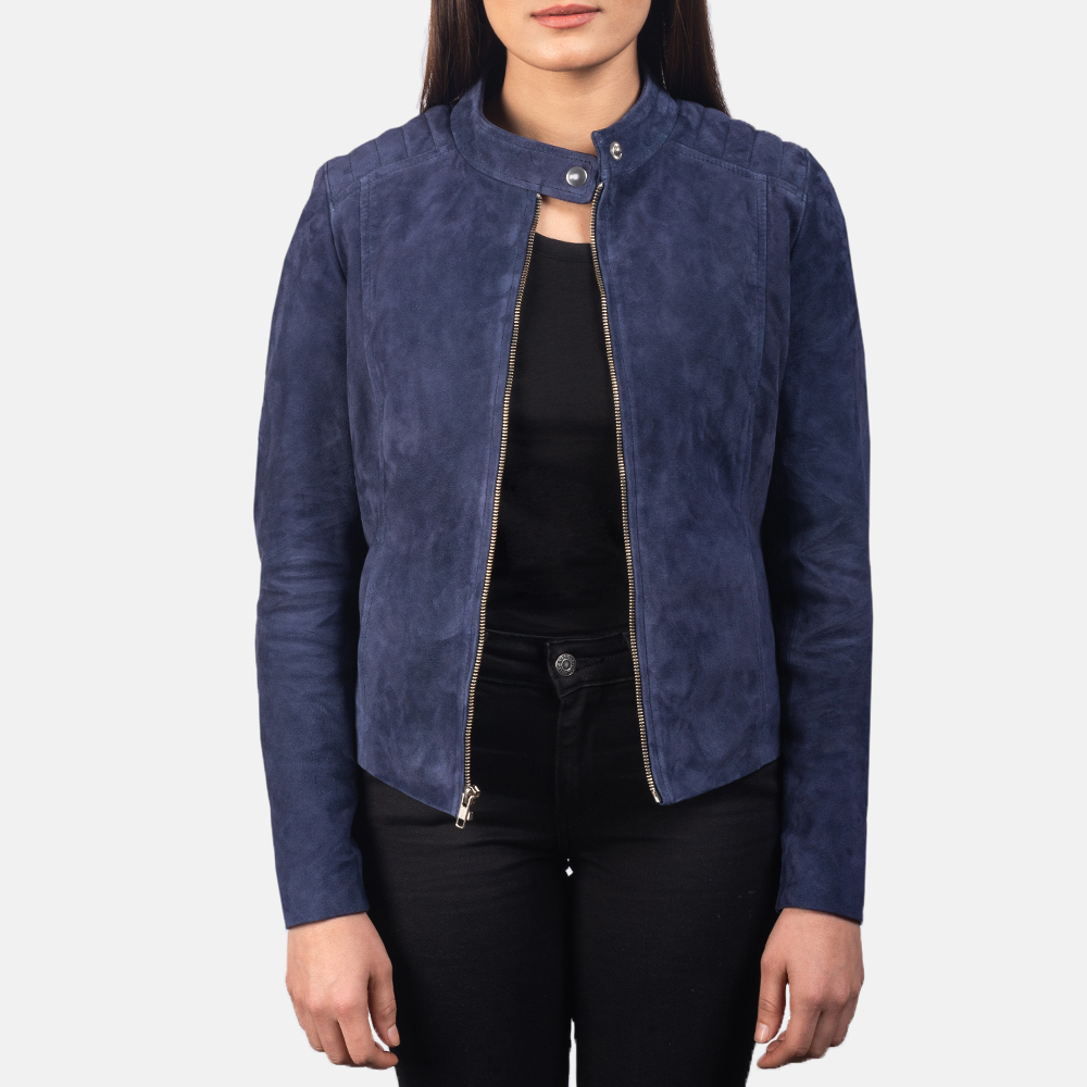 Women's Kelsee Navy Blue Suede Biker Jacket 2