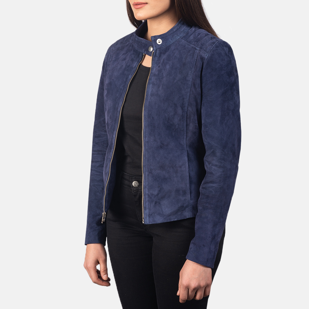 Women's Kelsee Navy Blue Suede Biker Jacket 3