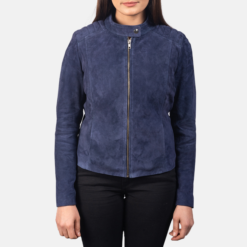Women's Kelsee Navy Blue Suede Biker Jacket 4