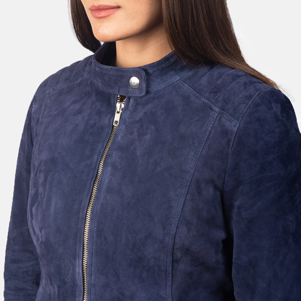 Women's Kelsee Navy Blue Suede Biker Jacket 6